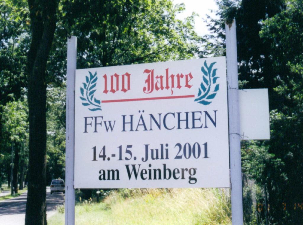 Schild 100 Jahre Feuerwehr